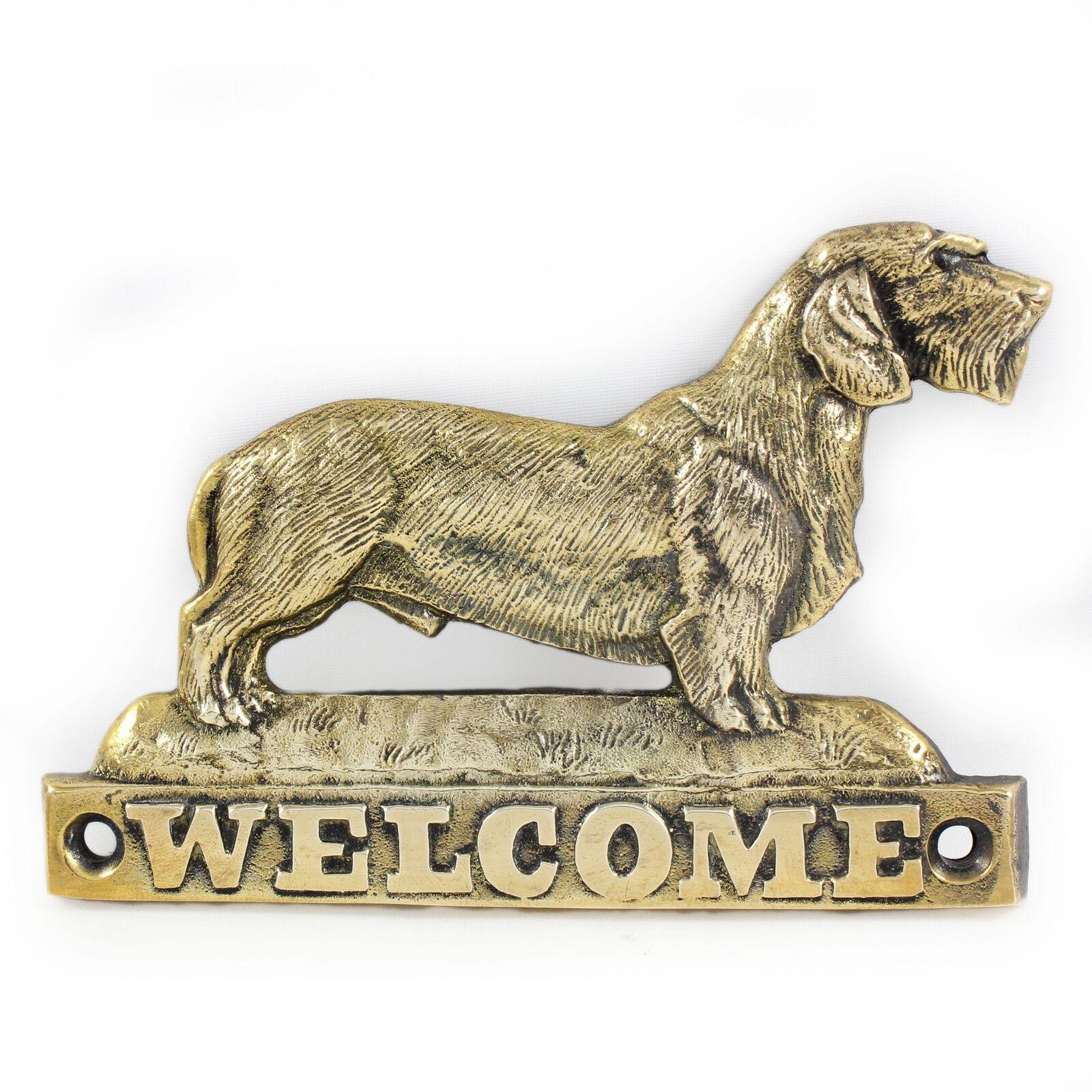 Bassotto a pelo duro - lastra di ottone con l'iscrizione 'WELCOME' Art Dog IT