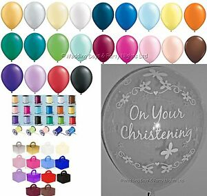 Clear-Christening-Helium-Balloons-Ribbon-Weights-Party-Decoration-Kit-Girl-Boy