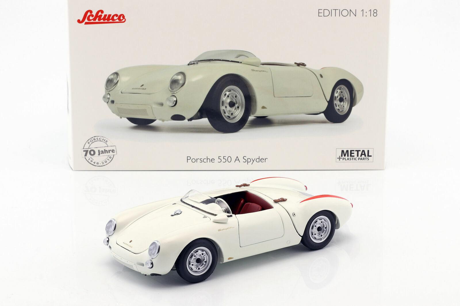 Schuco 1 18 Porsche 550 A Spyder edizione 70 Jahre Porsche bianco 450033300