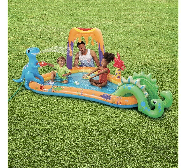 Play Day Dinosaur Swim Center Inflatable Swimming Pool Water Slide Sprayer NEW