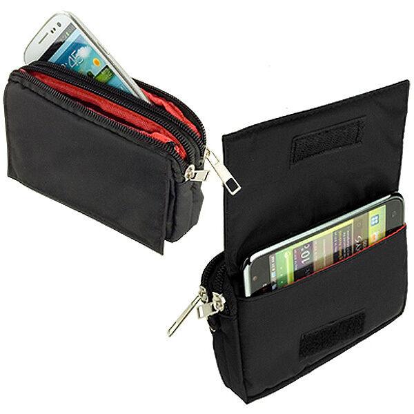Quer Tasche Case black für Apple iPhone 6 mit 2 Reissverschlußfächer Etui Hülle