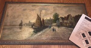 19th-century-Dutch-Oil-On-Canvas-Painting-Seascape-Boats-Architecture-Signed