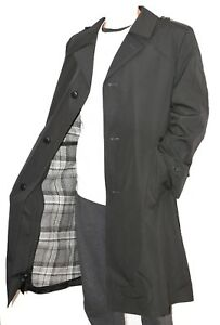 NEW-German-Army-Surplus-Vintage-Trench-Coat-with-Lining-BLACK-NVA-DDR