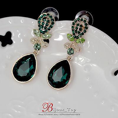 Boucles d`Oreilles Clous Vert Goutte émeraude Feuille Class Vintage Mariage A1
