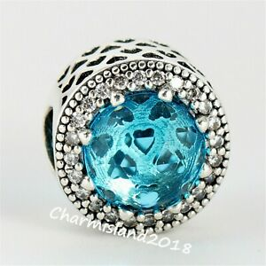 Authentic-Pandora-791725-Silver-925-Lake-Blue-Radiant-Hearts-Clear-CZ-Charm