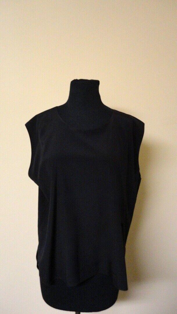 SHAMASK schwarz Solid Silk Casual Woherren Cap Sleeve Blouse Größe 2 GG5427