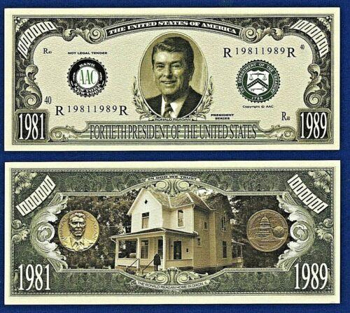 E2 Ronald Reagan Dollar Bill Movie TV actor W// clear protector sleeve 1
