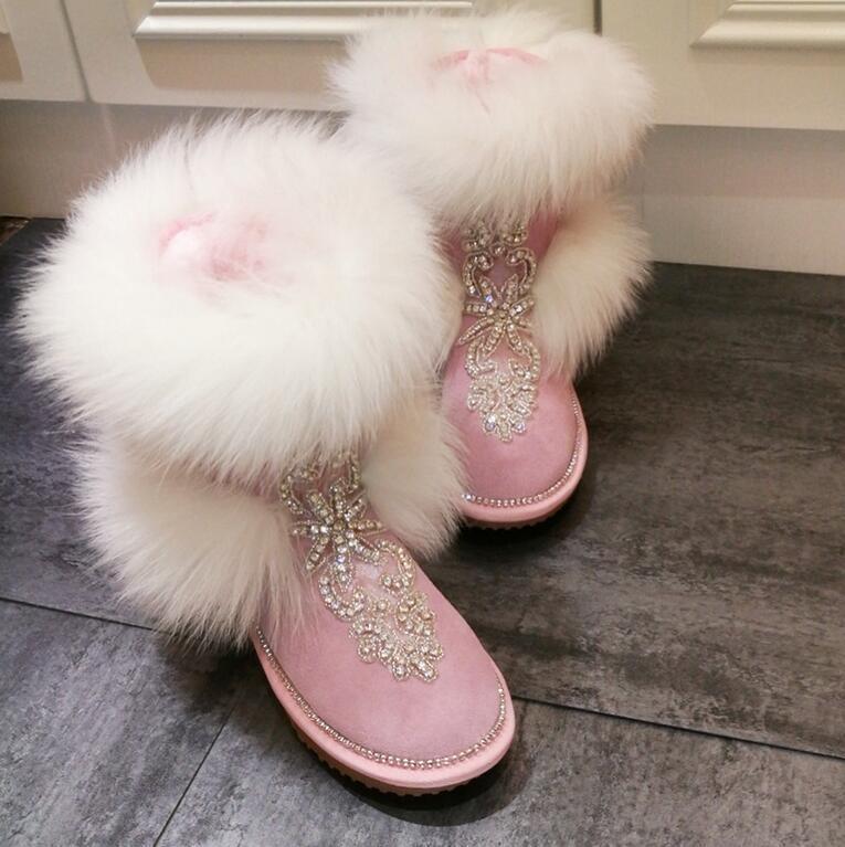 botas Nieve Mujer Grueso Abrigado Abrigado Abrigado de Diamantes de Imitación de Piel Sintética Terciopelo a mitad de la pantorrilla Ajuste Zapato Hai12  producto de calidad
