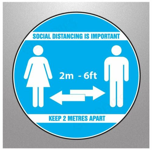 PRINTED FLOOR SIGN STICKER GRAPHIC HEALTH /& SAFETY PPE SOCIAL DISTANCING 2M