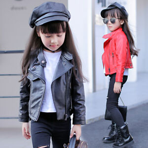 ce6c9b9e90d0 Fashion Kids Girls Cool Biker Leather Jacket Coats Children ...