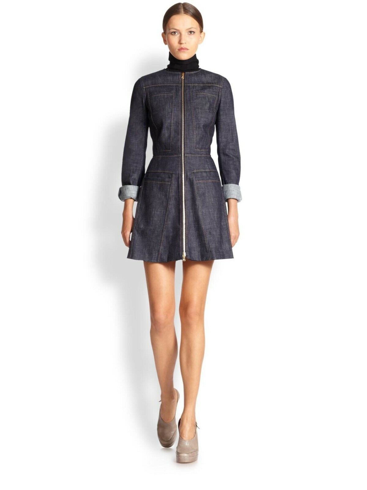 DEREK LAM zipper front flare denim dress in in in indigo bluee US 2   IT 38 6ca7e0