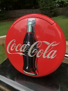 """Vintage 1995 Coca Cola Coke 12"""" Lighted Round Red Button Sign Telephone"""