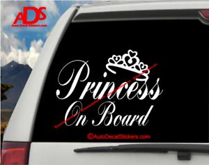 Princess On Board Car Sticker Vinyl Window Decal Safety Sign Suv Baby Truck #315