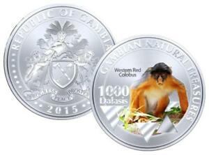 Gambia-1000-Dalasis-2015-UNC-Western-Red-Colobus-Monkey-Commemorative-coin