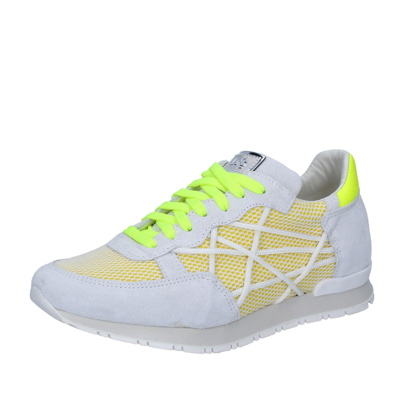 Scarpe donna L4K3 36 scarpe da ginnastica bianco giallo tessuto camoscio BZ447-B