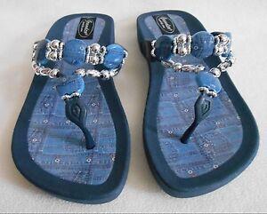Image Is Loading Grandco Sandals Dressy Beach Pool Blue Bling Denim