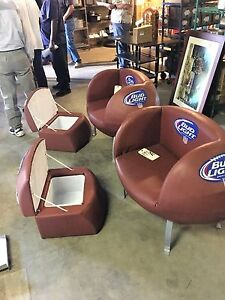 Set Of 2 Bud Light Nfl Football Chairs W Beer Coolers Man