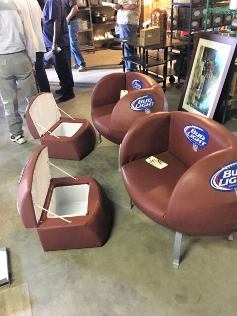 Gentil SET OF 2 BUD LIGHT NFL FOOTBALL Chairs W BEER COOLERS Man Cave