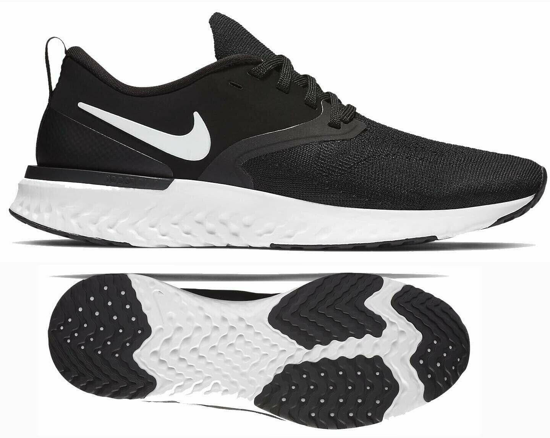 Nuevo NIKE Odyssey React 2 Flyknit Para hombres Zapatos para Correr Negro blancoo Todas Las Tallas