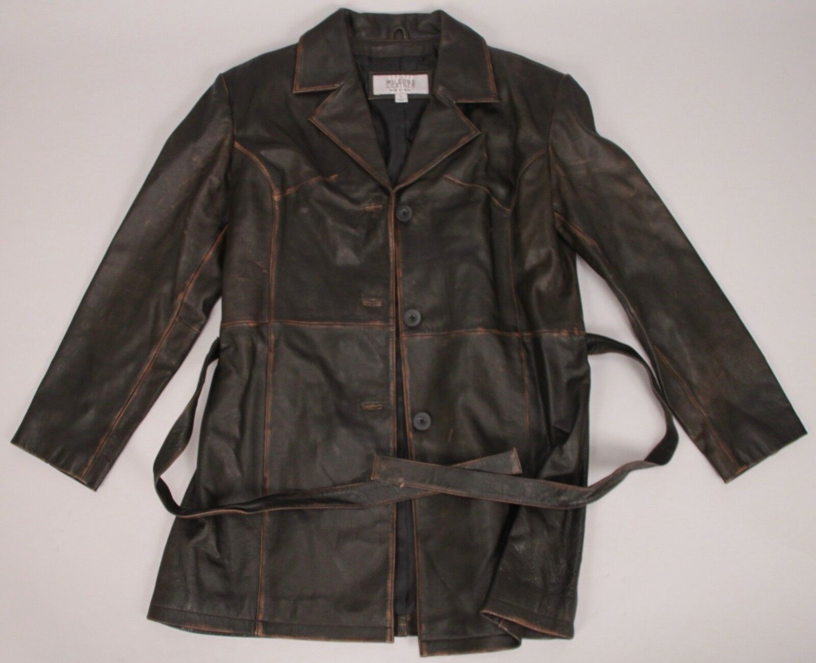 Wilsons Leather Maxima - Brown Vintage Distressed Women's Leather Coat - Size L