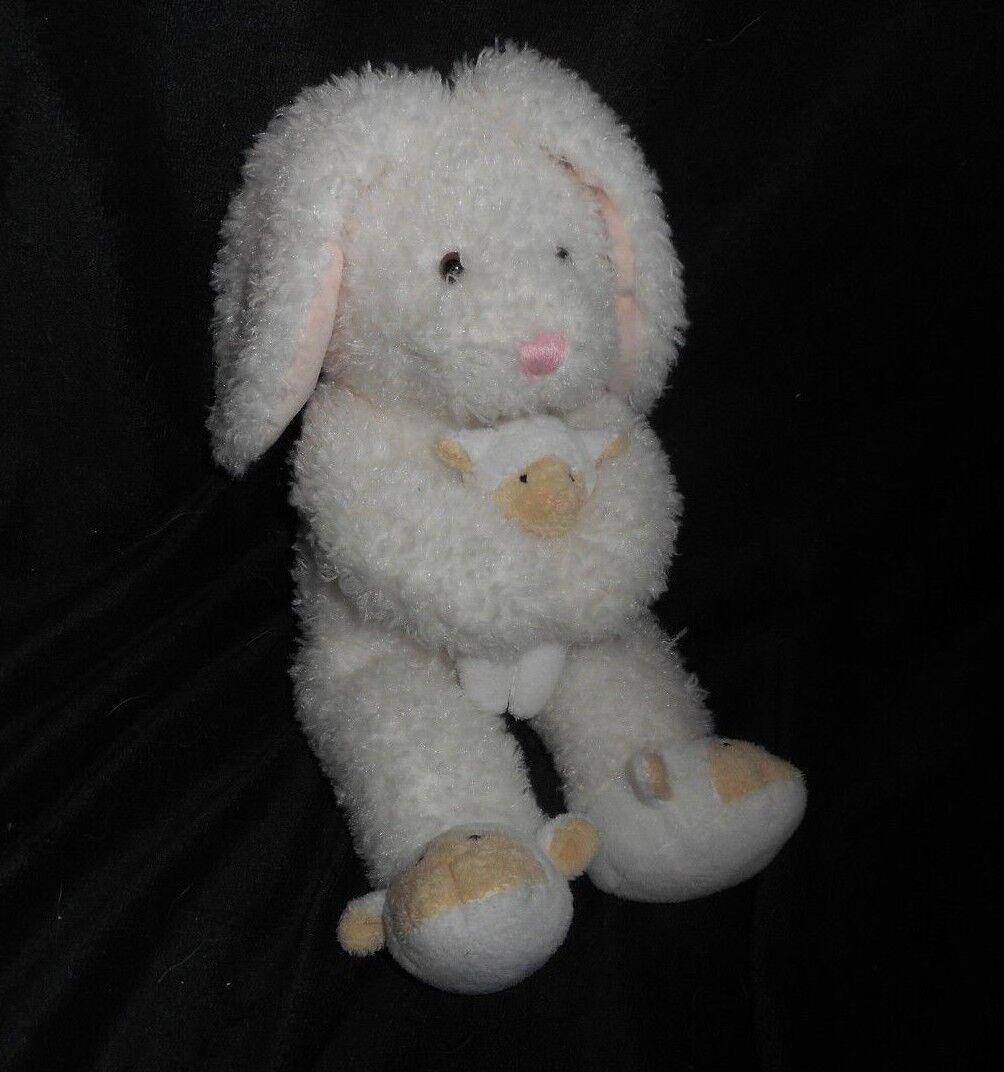 2003 MARSHALL FIELDS WHITE BUNNY RABBIT W  BABY LAMB STUFFED ANIMAL PLUSH TOY