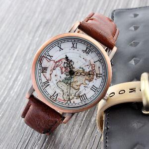 Womens-Brown-Vintage-Leather-World-Map-Wrist-Watch-Explorer-Travel-Watch-Gift