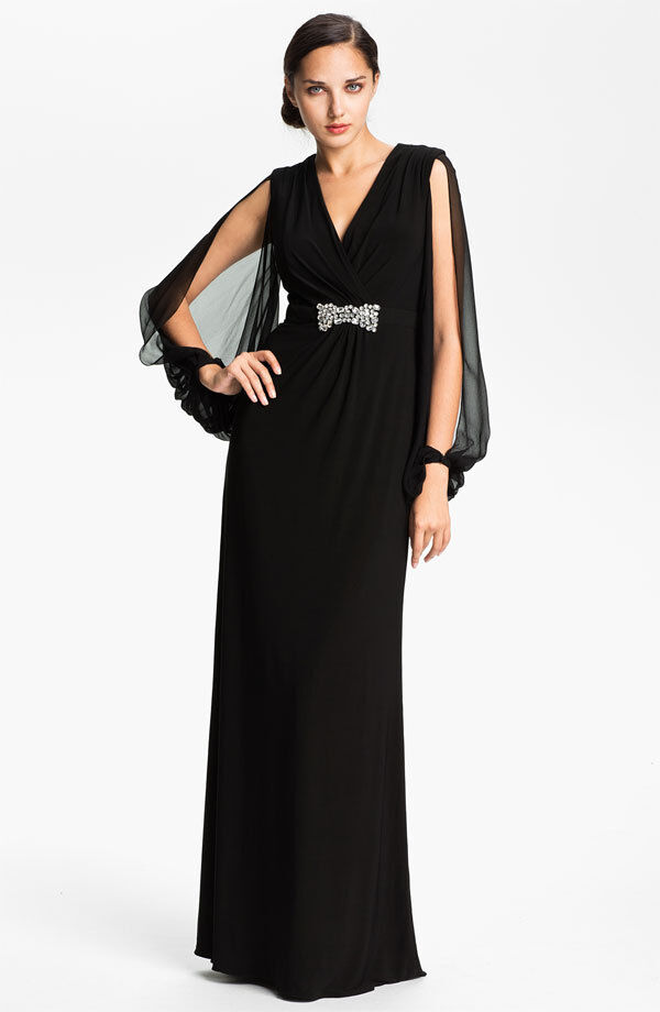 Kathy Hilton Sheer Split Sleeve Jersey Gown Dress schwarz Größe 2