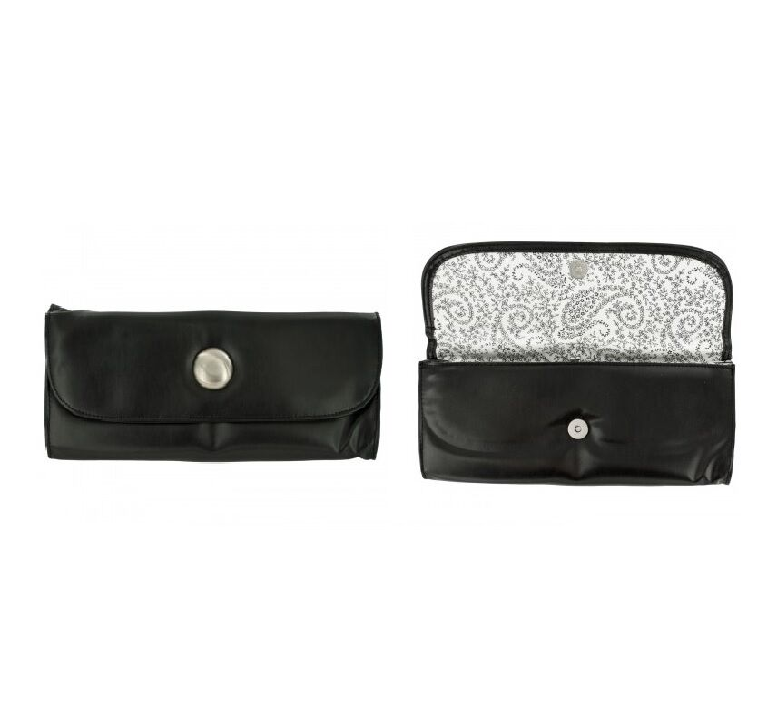 Clutch black faux leather wallet - Large - floral lining - silver metal button