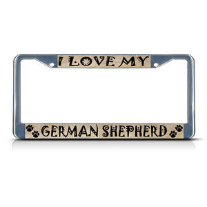 GERMAN-SHEPHERD-DOG-PET-Metal-License-Plate-Frame-Tag-Border-Two-Holes
