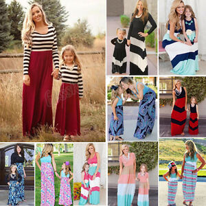 1876528872 Image is loading New-Mother-Daughter-Matching-Clothes-Striped-Mom-Kids-