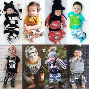 14f5895184c70 Newborn Baby Boy Infant Romper T-shirt Tops+Long Pants Outfit Set ...