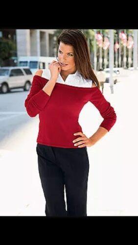 Top elegante 2in1 Pullover con camicia come inserto NUOVO BIANCO ROSSO