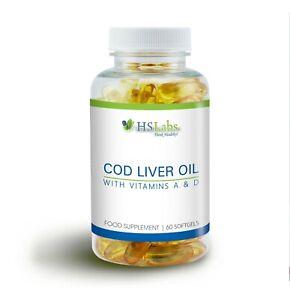 OLIO di fegato di merluzzo 500mg Vitamina a D 60 TAPPI OLIO DI PESCE OMEGA 3 acidi grassi essenziali
