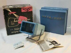 Vintage-Opta-Vue-35mm-Wide-Screen-Hand-Viewer-w-Slide-File-Case-amp-Orig-box-USA