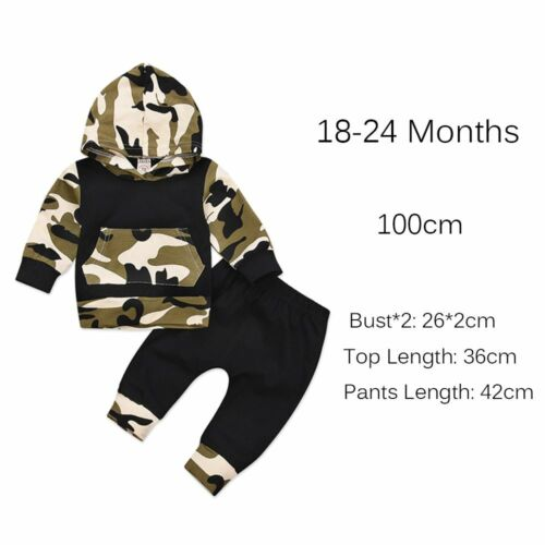Toddler Clothing Hooded Tops Camouflage Outfits Long Pants Boys Clothes Set