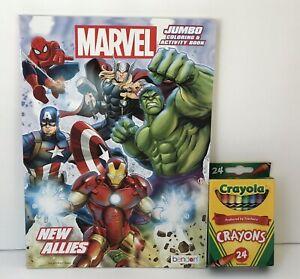 Marvel-Avengers-Jumbo-Coloring-amp-Activity-Book-Mazes-Matching-Crayons-Boys-Art