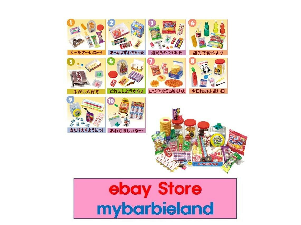 Re-ment Full Set of 10 CANDY SHOP   DOLLAR STORE BARBIE Größe MINIATURE FOOD