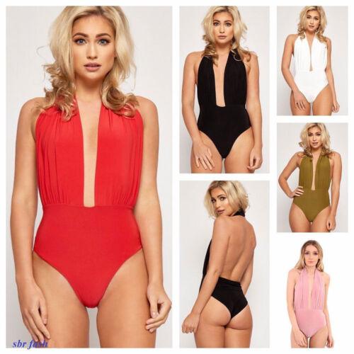 Womens Ladies Plunge Halter Neck Backless Stretch Slinky Bodysuit Dress Top 8-14