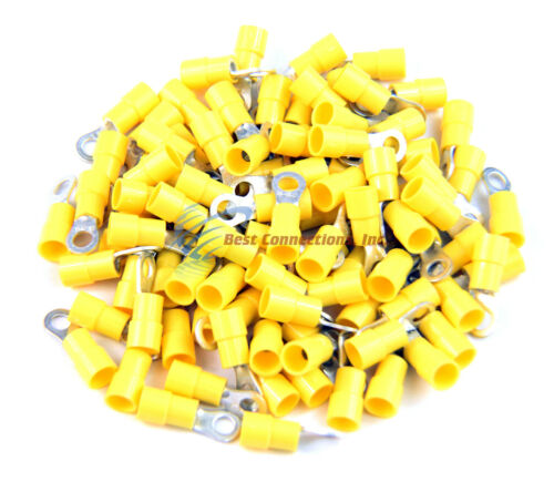 Yellow Vinyl Ring Terminal Connector #10 12-10 Gauge AWG 100 PCS Install Bay