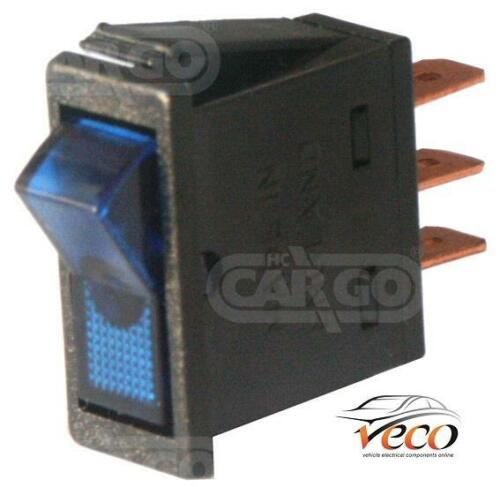 REPLACEMENT BLUE 12 VOLT RECTANGLE ILLUMINATED LIGHT ON OFF ROCKER SWITCH 180099