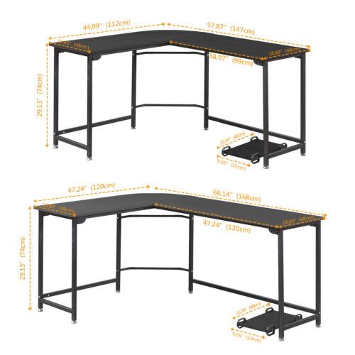 L-Shaped Corner Desk Computer Desk PC Gaming Table Workstation For Home Office