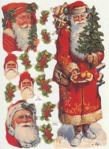 Father Christmas Tree Santa Noël Original German Die Cut Scraps Victorian