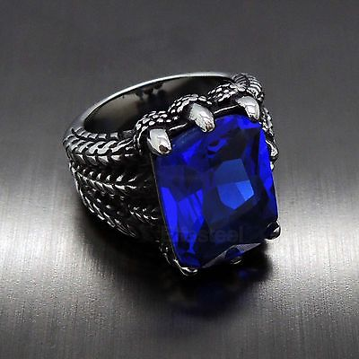 Mens Silver Dragon Sapphire Blue Cubic Zirconia 316L Stainless Steel Biker Ring
