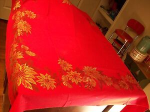 Vintage Printed Linen Tablecloth - Turkey Red Christmas Poinsettias & Pinecones