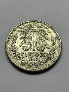 1917-Mexico-50-Centavos-Silver-XF-14569