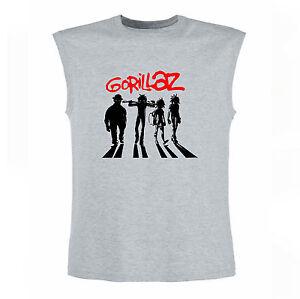 Art-T-shirt-Magletta-Senza-Maniche-Gorillaz-Uomo-Man-Grigio