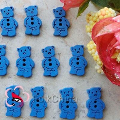Cute bear 11mm Wood Buttons Sewing Scrapbooking Craft NCB022-6 blue