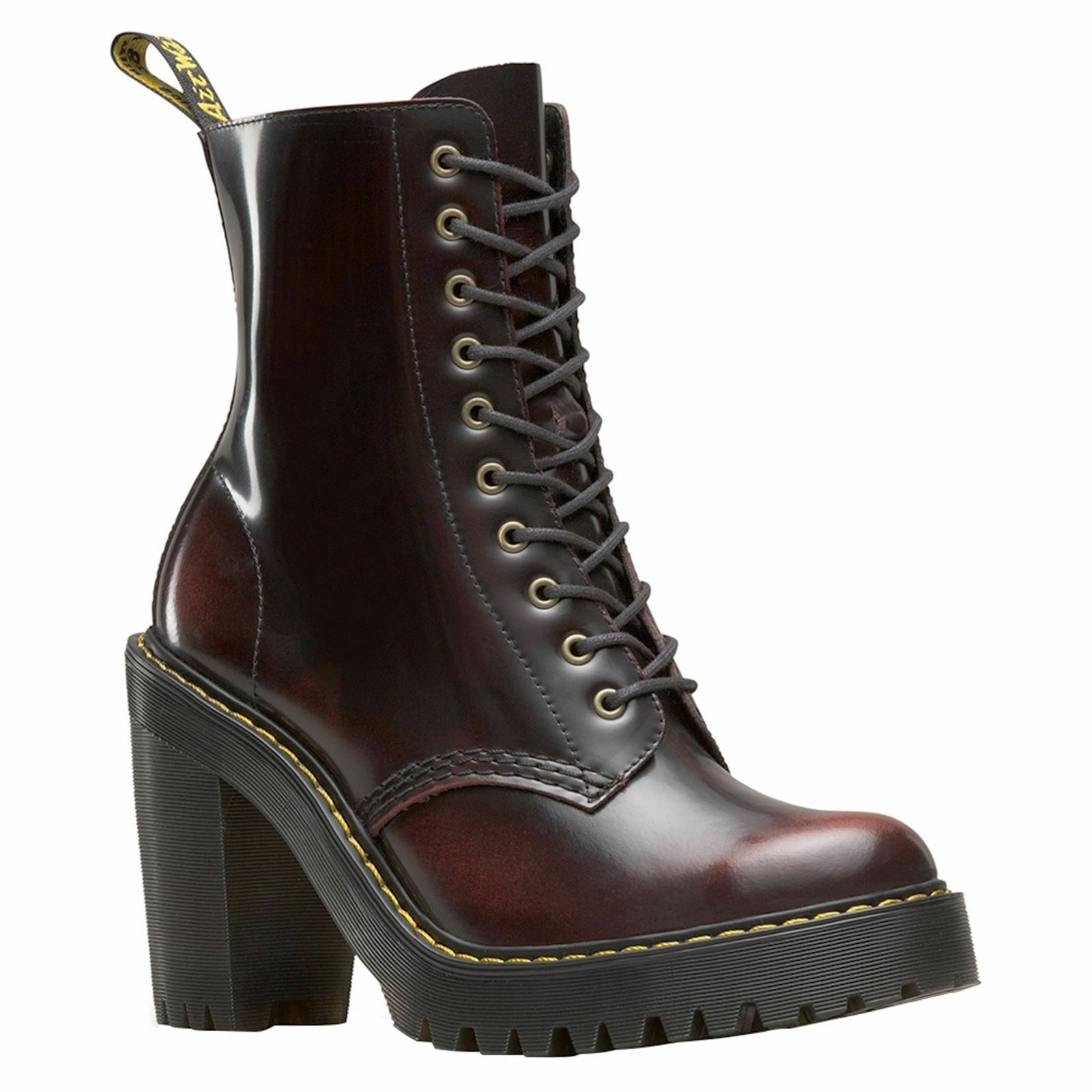Dr.Martens Kendra 10-Eyelet Cherry Red Womens Arcadia Hi-Heel Combat Ankle Boots