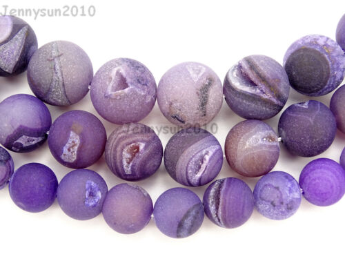 "Natural Druzy Quartz Matte Purple Agate Gemstone Round Beads 15.5"" 10mm 12mm"