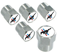 Ford Mustang With Red, White And Blue Stripes Chrome Valve Stem Caps 5 Caps